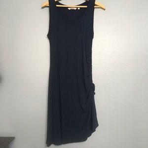ATHLETA | navy side ruching tank dress modal SP